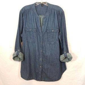 Nine West Jeans chambray tab sleeve button shirt